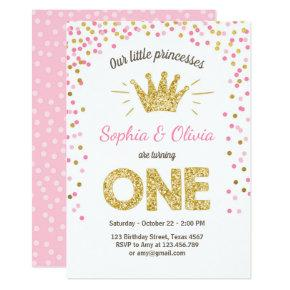 First birthday invitation Princess Gold Pink Twins