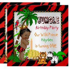 First Birthday Jungle Safari Wild Prince Ethnic Invitation