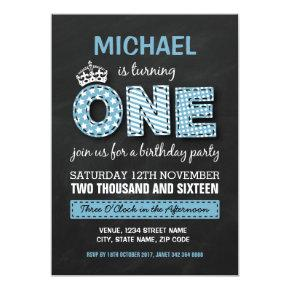 FIRST BIRTHDAY PARTY   CHALKBOARD PRINCE CARD
