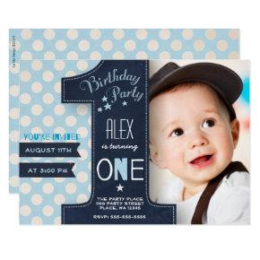 First Birthday Party Invitations Boy Chalkboard