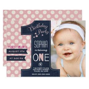 First Birthday Party Invitations Girl Chalkboard