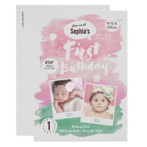 First Birthday Party Invitation Girl Watercolor