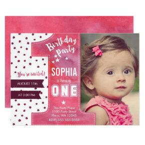 First Birthday Party Invitations Girl Watercolor