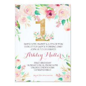First  birthday pink Beautiful Floral Invitation, Card
