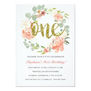 First Birthday Pink Gold Floral Wreath Invitations