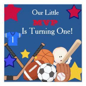 FIRST BIRTHDAY Sports Boys Birthday Invitation