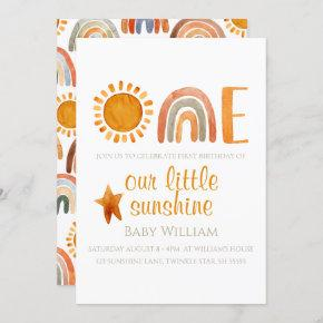 First Birthday Watercolor Sun and Rainbow Boho Invitation
