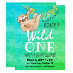 First Birthday Wild One Jungle Sloth Party Invitation