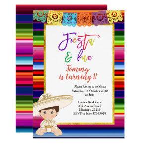 First Fiesta Birthday Invitations Mexican blanket