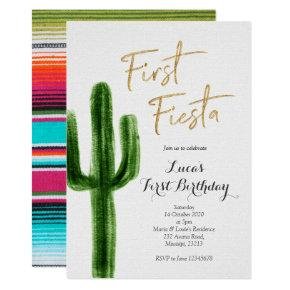 First Fiesta Cactus Birthday Invitation
