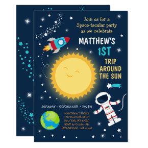 First Trip Around The Sun Space Birthday Invitation