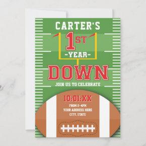 First Year Down Football Red Boys First Birthday Invitation