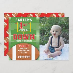 First Year Down Football Red First Birthday Photo Invitation