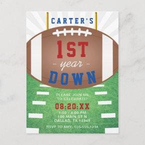 First Year Down Football Theme 1st Birthday Post