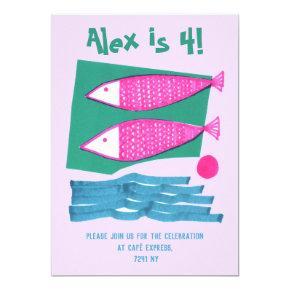 Fishes Sea Illustration Baby Birthday Kids Sea Invitation