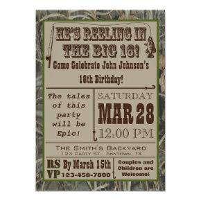 Fishing 16th Birthday Invitations with Camo