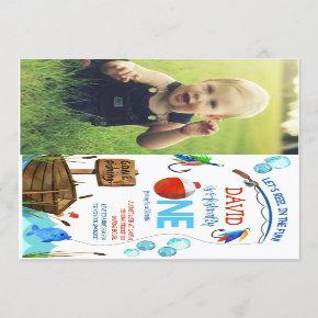 Fishing 1st Birthday Boy O-fish-ally Photo Picture Invitation