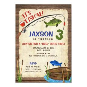 Fishing 3rd birthday boy rustic outdoors invitation