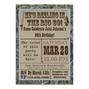 Fishing 80th Birthday Invitations with Camo