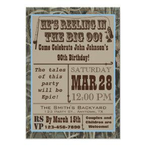 Fishing 90th Birthday Invitations with Camo