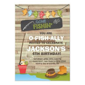Fishing Birthday Invitation Wood Fishing party