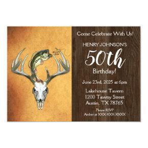 Fishing Hunting Theme 50th Birthday Party Invitation