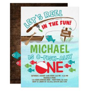 Fishing, O-Fish-ally ONE Birthday Invitation