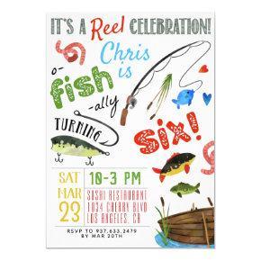 Fishing Sixth Birthday Invitation