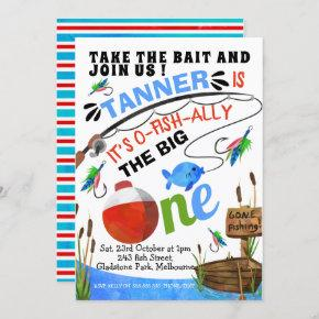 Fishing Take The Bait Big One Birthday Invitation