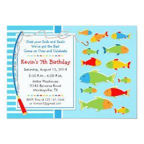 Fishing Theme Birthday Party Invitations