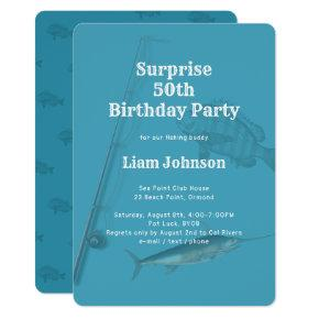 Fishing Theme His Surprise Birthday Party Invitation