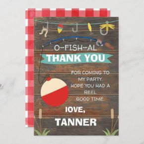 Fishing Themed Birthday Thank You