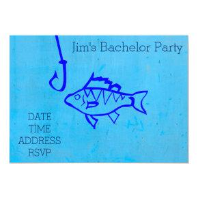 Fishing themed blue Bachelor Party Invitation
