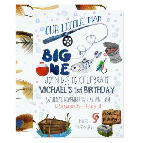 Fishing Themed First Birthday Invitation