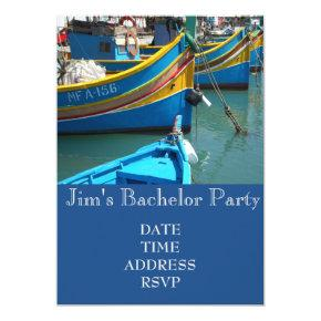Fishing themed fishing boats Bachelor Party Invitation
