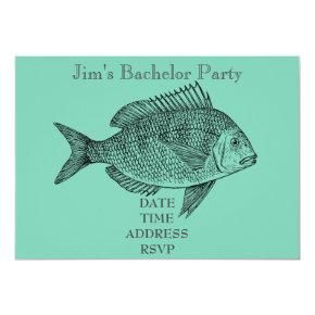 Fishing themed male Bachelor Party Invitation