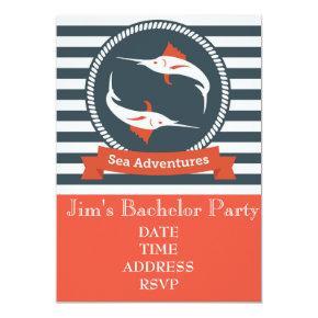 Fishing themed nautical Bachelor Party Invitation