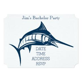 Fishing themed nautical swordfish Bachelor Party Invitation
