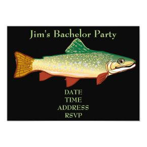 Fishing themed trout Bachelor Party Invitation