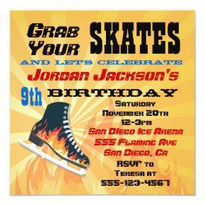 Flaming Ice Skating Birthday Party Invitation