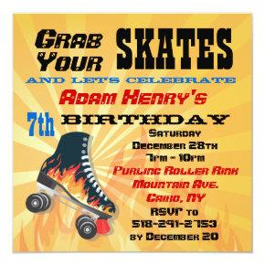 Flaming Roller Skating Birthday Party Invitations