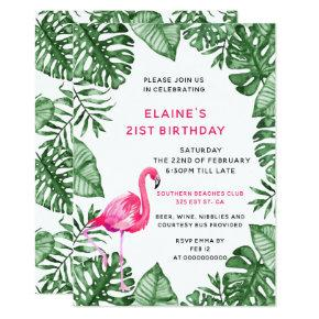Flamingo 21st Birthday party Invitation