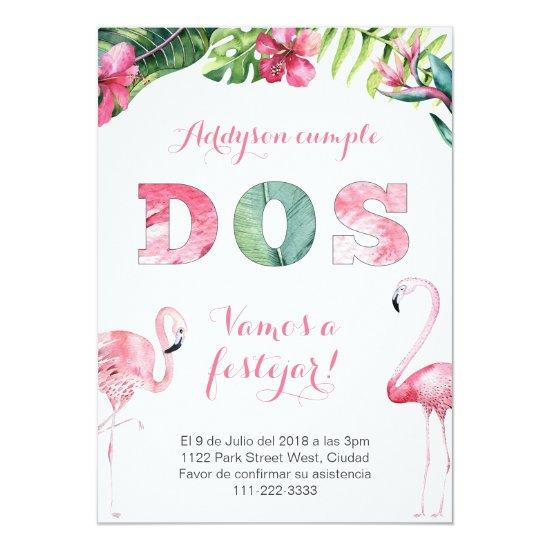 flamingo 2nd birthday invites in spanish for girl candied clouds