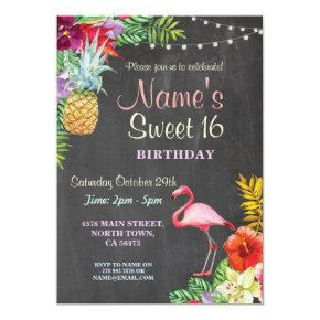 Flamingo Aloha Sweet 16 16th Birthday Party Invite