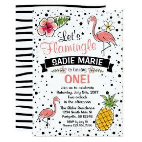 Flamingo and Pinapple Doodle Birthday Invitation
