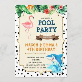 Flamingo and shark party invitation