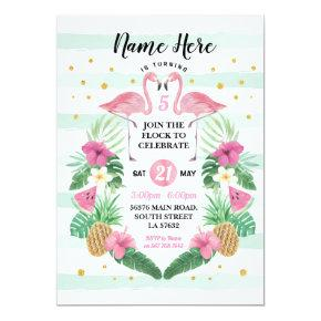 Flamingo Birthday Flock Pink Birthday Party Invite