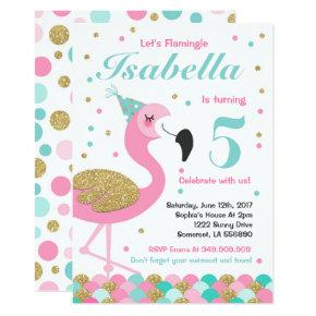 Flamingo Birthday Invitations Topical Pool Party