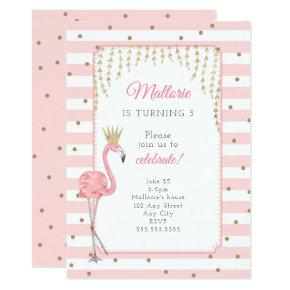 Flamingo birthday party invitation, pink gold invitation