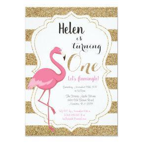 Flamingo First Birthday Invitation Girl